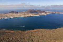 view to la graciosa island from mirador del rio. lanzarote, canary islands - stock photo