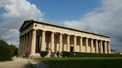 Temple of Hephaestus in Athens, Greece on a sunny day Stock Footage