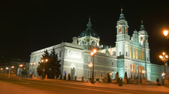 Madrid streets with Cathedral of  Almudena, in Madrid, Spain. Stock Footage