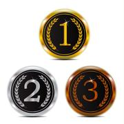 Winner 123 gold silver and bronze badge Stock Illustration