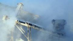 Crashed stones gravel conveyor machine quarry mining Stock Footage