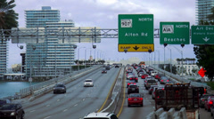 Traffic Jam on the freeway to Miami Beach - stock footage