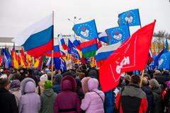 Russian people support crimea in petrozavodsk on march 16, 2014 Stock Photos
