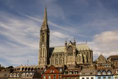 st. colman's neo-gothic cathedral in cobh, south ireland - stock photo