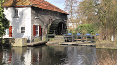 Dutch Wooden Watermill - stock footage
