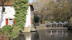 Dutch Wooden Watermill Stock Footage