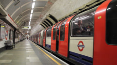 Great shot of London Undergroud Metro Doors Open and Close - stock footage