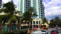Colorful skyscrapers and appartments in Miami Beach Stock Footage