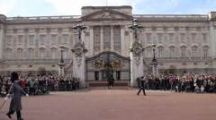Change of Guard Band at Buckingham Palace with audio Stock Footage