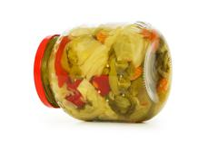 Pickels jar isolated on the white background Stock Photos