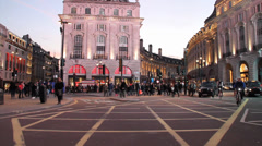 Time Lapse Piccadilly Traffic London with taxis and double decker buses Stock Footage