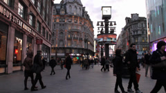 London Crowd Picadilly Circus Stock Footage