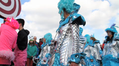 Carnival Parade Maastricht Light Blue Color Theme Stock Footage