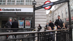 Bankers making a Deal outside of London Underground - stock footage
