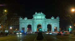 Beautiful view of Arch Puerta de Alcala,time lapse cars traffic Stock Footage