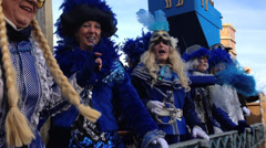 Karnival/Mardi Gras Parade Blue Theme Float Stock Footage
