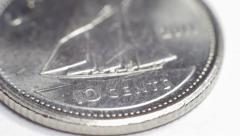 10 cents canadian - dime Stock Footage