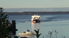 Ferry boat travelling towards camera Stock Footage