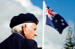 anzac day - war memorial service - stock photo