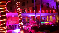 Clevelander Club Hotel and cocktail bar Miami Beach Ocean Drive - stock footage