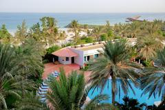 the beach at luxury hotel, ajman, uae - stock photo