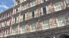 Artistic facade of Casa de la Panadería in Plaza Mayor Stock Footage