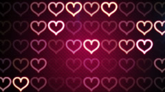 Flashing heart shapes loopable romantic background Stock Footage