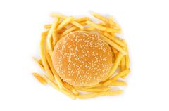 Cheeseburger isolated on the white background Stock Photos