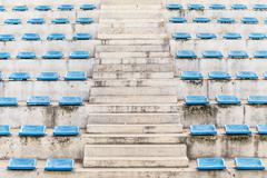 Stairway corridor grandstand arena with blue chair Stock Photos