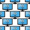 Stock Illustration of seamless pattern of a happy desktop monitor