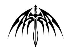 Winged sword with barbed feathers Stock Illustration