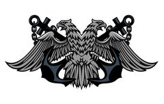 Double headed imperial eagle on anchors Stock Illustration