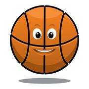 bouncing happy brown basketball - stock illustration