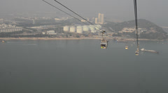 Cable car going to the po lin monastery in hong kong Stock Footage