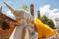 Stock Photo of blue sky buddha wat yai chai mong kon ayutthaya