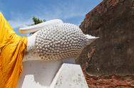 Stock Photo of big head buddha wat yai chai mong kon ayutthaya
