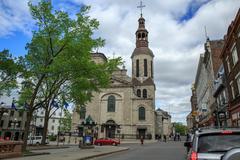 the cathedral minor basilica of notre dame de quebec - stock photo