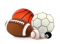 Urheilu pallot yli valkoinen Kuvituskuvat