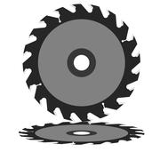 Stock Illustration of circular saw blade on a white background.
