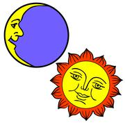 Stock Illustration of vector illustration of moon and sun with faces