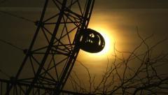 Silhouette of the Millennium Wheel, London, UK Stock Footage