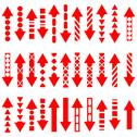 Stock Illustration of a vector set of useful red arrows.