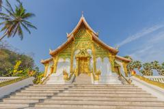 blue sky view with louangprabang national museum - stock photo