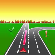 Map navigator city streets gps with signs Stock Illustration