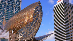 Peix sculpture in Port Olympic in Barcelona, Spain Stock Footage