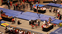 Gymnastic beam moves Stock Footage