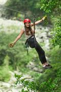 Zip Line Experience In Ecuadorian Andes Stock Photos