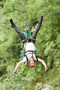 Searching For Adrenaline Tandem Zip Line Experience In Ecuadorian Andes Stock Photos