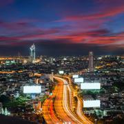 Bangkok city day view with main traffic at twilight Stock Photos
