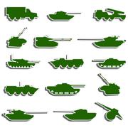 Vector tanks, artillery and vehicles from second world war  stickers Stock Illustration